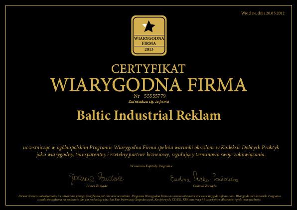 Jesteśmy pewną i wiarygodną firmą, potwierdzają to liczne certyfikaty Certyfikat Wiarygodna Firma