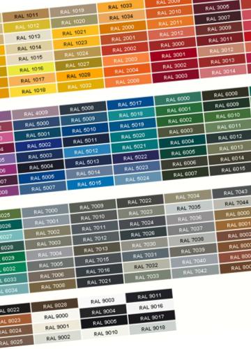 Maszty w różnych kolorach, standard kolorystyczny RAL